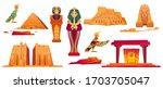 ancient egypt landmarks. vector ... | Shutterstock .eps vector #1703705047