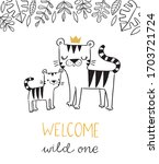 hand drawn tigers in a crown....   Shutterstock .eps vector #1703721724