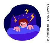 afraid trembling man  insomnia... | Shutterstock .eps vector #1703739991