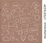 sketchy speech bubbles on brown ... | Shutterstock .eps vector #170376239