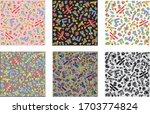 set of eighties style seamless... | Shutterstock .eps vector #1703774824