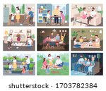family routine flat color... | Shutterstock .eps vector #1703782384