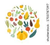 fruit and vegetable vector...   Shutterstock .eps vector #1703787397