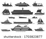 Silhouette Of Vessels. Sailing...