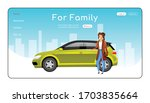 for family landing page flat... | Shutterstock .eps vector #1703835664