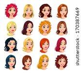 fashion female avatars.... | Shutterstock .eps vector #170387669