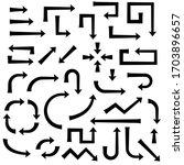 black arrows. set of flat bold...   Shutterstock . vector #1703896657