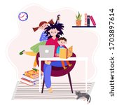 stay home and working online... | Shutterstock .eps vector #1703897614