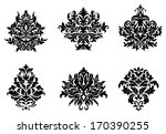 black silhouetted floral and... | Shutterstock .eps vector #170390255