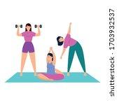 women practicing exercise...   Shutterstock .eps vector #1703932537