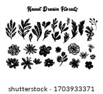 florals hand drawn set. design... | Shutterstock .eps vector #1703933371