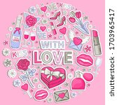 icon sticker set with love | Shutterstock . vector #1703965417