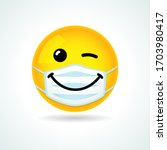 emoji smile face with guard... | Shutterstock .eps vector #1703980417