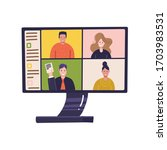 pc screen with online... | Shutterstock .eps vector #1703983531