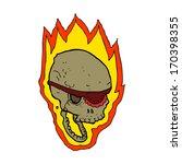 cartoon flaming pirate skull   Shutterstock . vector #170398355