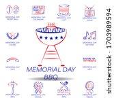 memorial day bbq colored icon....