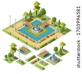 isometric  public city park for ... | Shutterstock .eps vector #1703996581