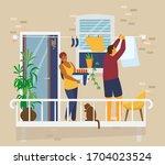 couple on balcony hanging up... | Shutterstock .eps vector #1704023524