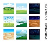 set of landscapes. fields. the... | Shutterstock .eps vector #1704025441