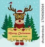 Cute Hand Drawn Reindeer With...