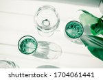 Glasses Of Water On White Table....