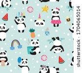 Seamless Childish Panda Bear...
