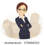 cute businesswoman with arms... | Shutterstock .eps vector #170406521