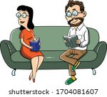 a middle aged couple sitting on ... | Shutterstock .eps vector #1704081607