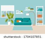 interior in flat style. vector... | Shutterstock .eps vector #1704107851
