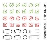super set hand drawn check mark ... | Shutterstock .eps vector #1704137284