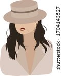 woman in brown hat and light... | Shutterstock .eps vector #1704143527