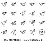 paper airplane design icons set.... | Shutterstock .eps vector #1704150121