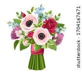 vector bouquet of red  pink ... | Shutterstock .eps vector #1704167671