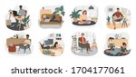 young people working and study... | Shutterstock .eps vector #1704177061