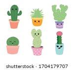Set Of Six Cactus Vector...