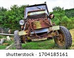 Old Rusty Tractor With Chain