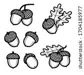 Acorns Set. Collection Icon...