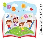 fun with book. vector... | Shutterstock .eps vector #170419124