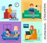 freelance set with flat cartoon ... | Shutterstock .eps vector #1704199594
