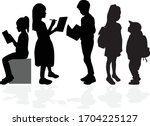 students silhouettes.... | Shutterstock .eps vector #1704225127