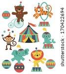 Stock vector cute circus animals collection vector illustration 170422694