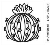 cactus flower black line icon....