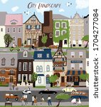 city landscape  vector cute...   Shutterstock .eps vector #1704277084