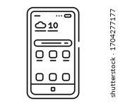mobile devices black line icon. ...