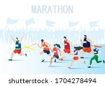 a group of people are running...   Shutterstock .eps vector #1704278494