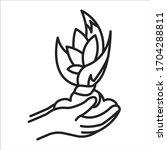 plant care black line icon....