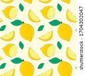 lemon pattern with yellow... | Shutterstock .eps vector #1704302047