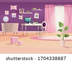 girl room interior in pink and... | Shutterstock .eps vector #1704338887