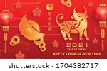 happy chinese new year 2021 ox... | Shutterstock .eps vector #1704382717