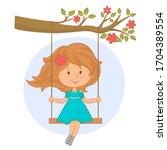 little girl on the swing | Shutterstock .eps vector #1704389554